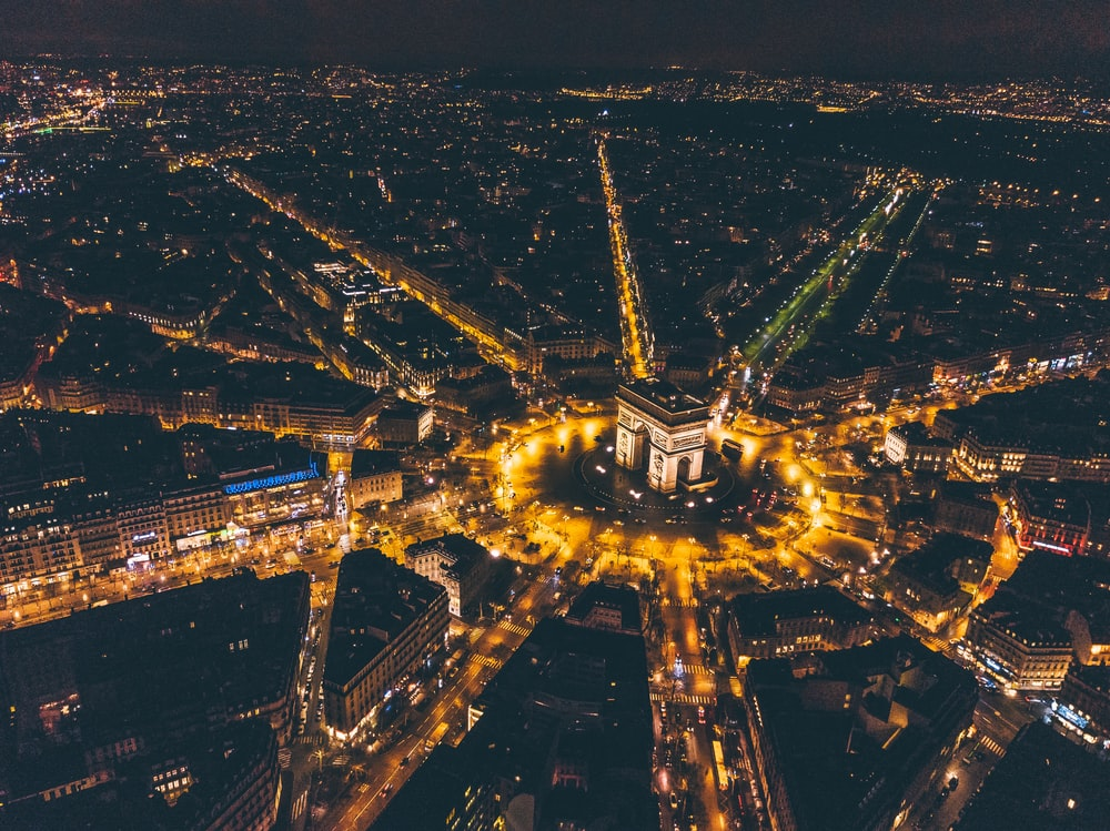 aerial photography of lighted buildings at night
