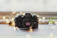 Film camera with string lights