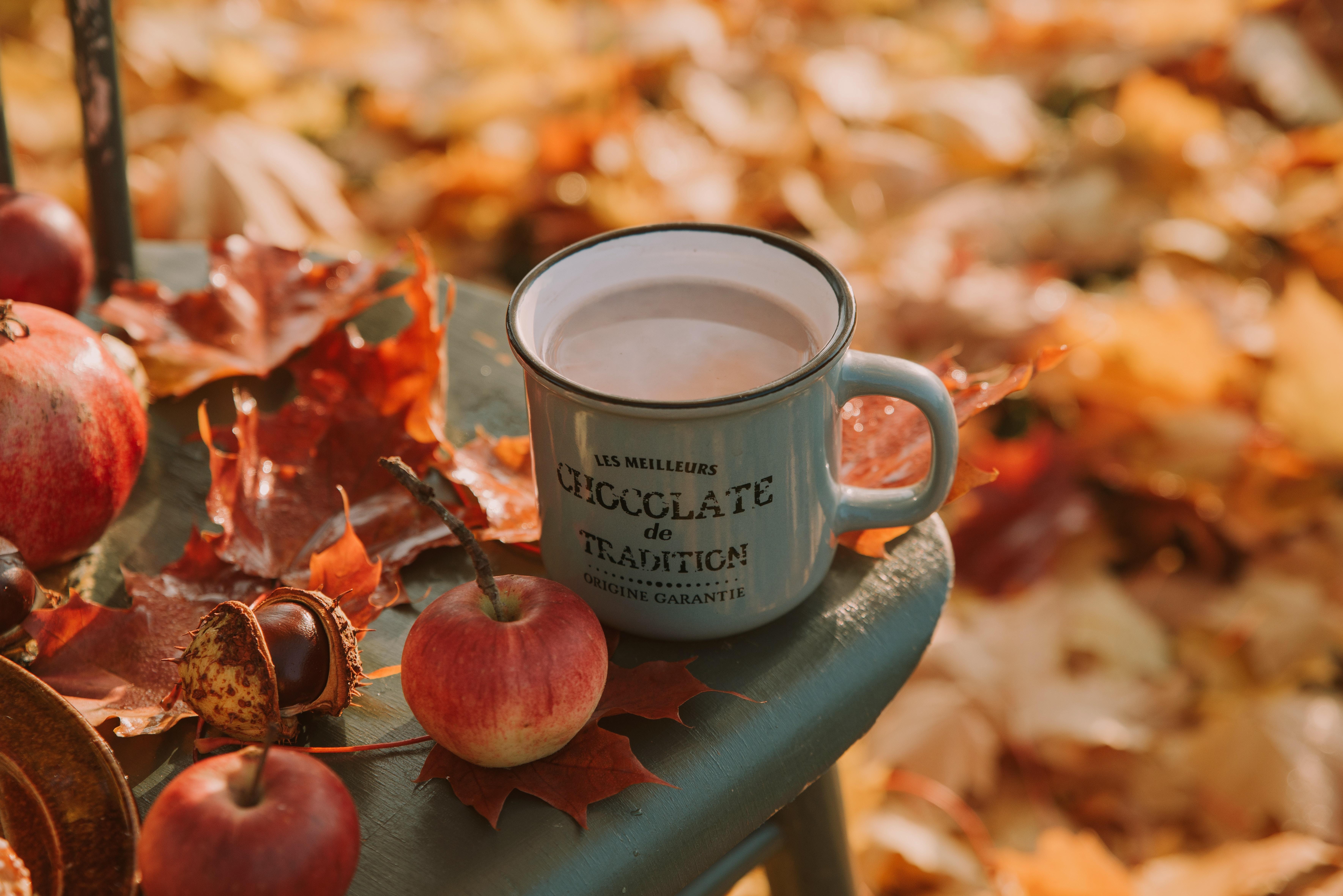 red apples beside white mug