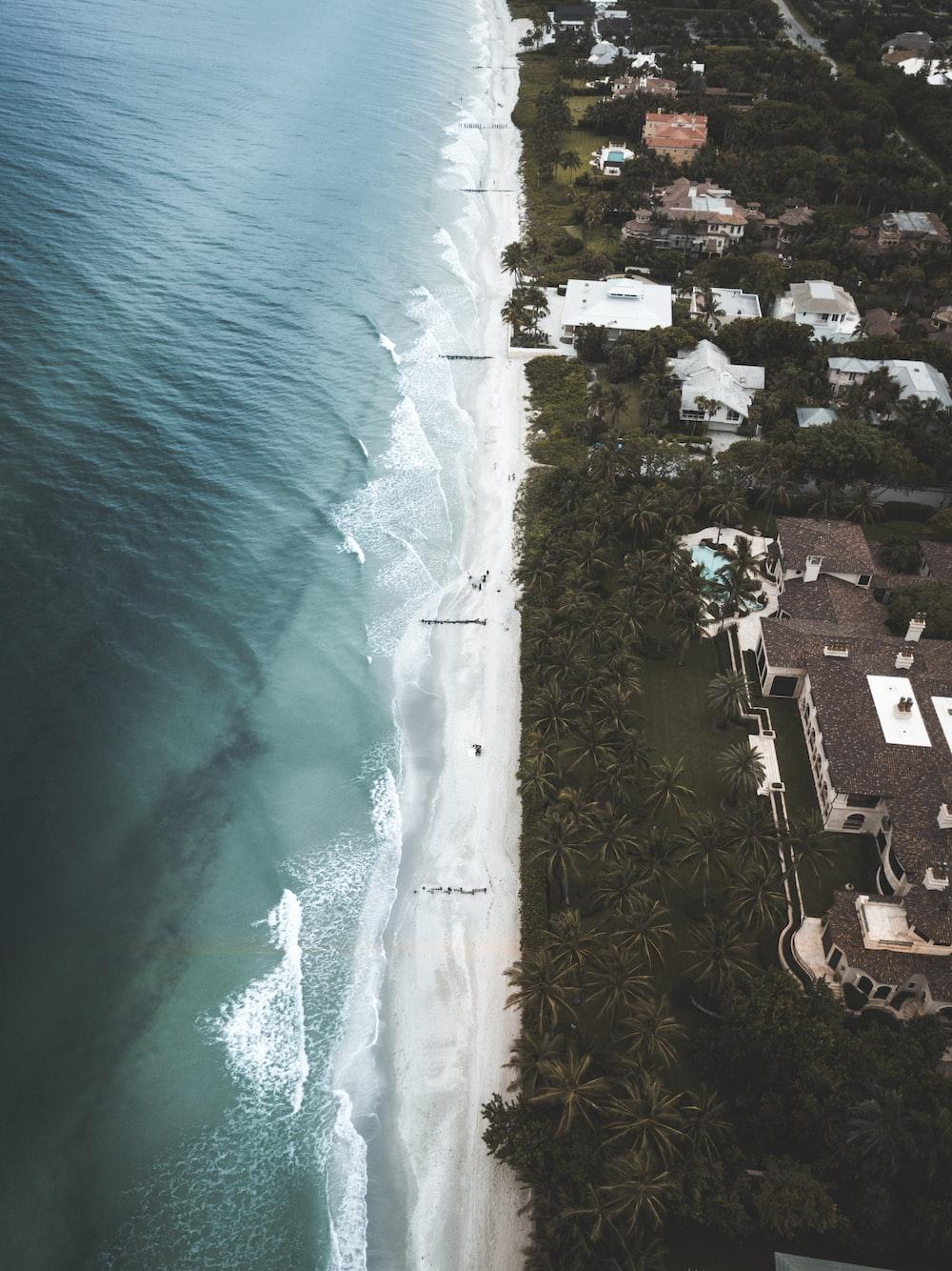 aerial view of buildings near ocean
