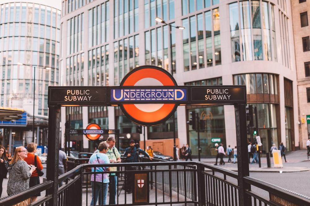 black Underground sign post