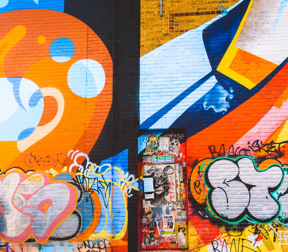 orange and blue graffiti