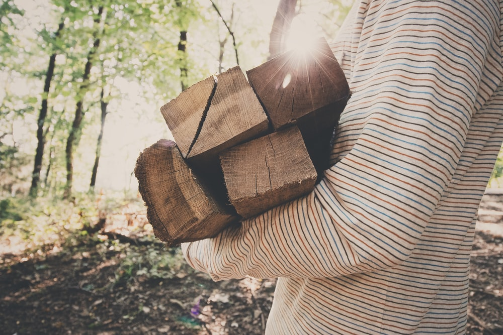 person holding wooden planks