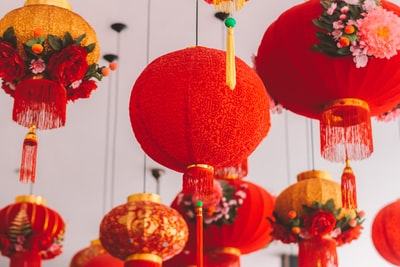 hanged red ball lantern chinese new year teams background