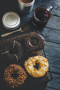 baked doughnuts on tray