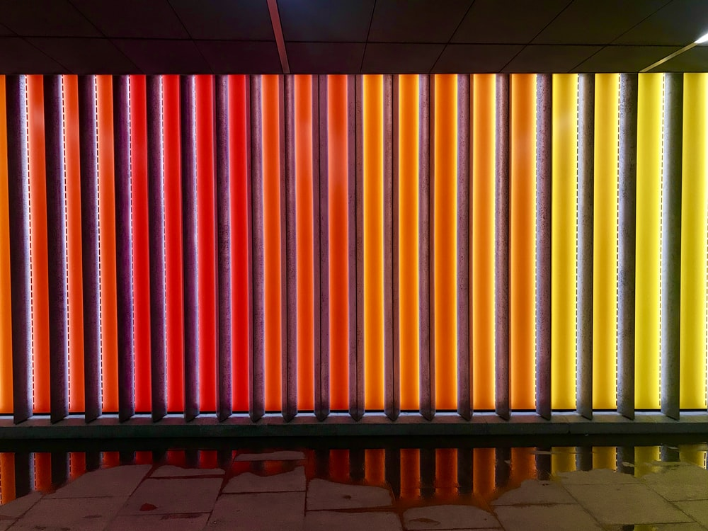 red and yellow LED wall