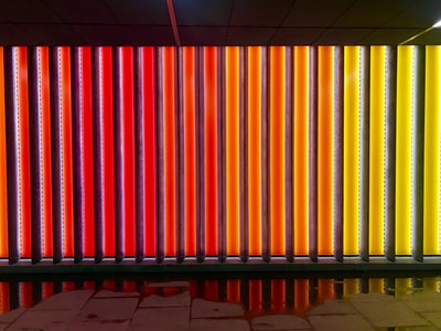 red and yellow led wall spectrum zoom background