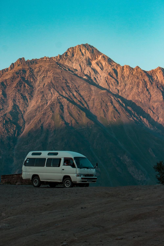 white van near mountain
