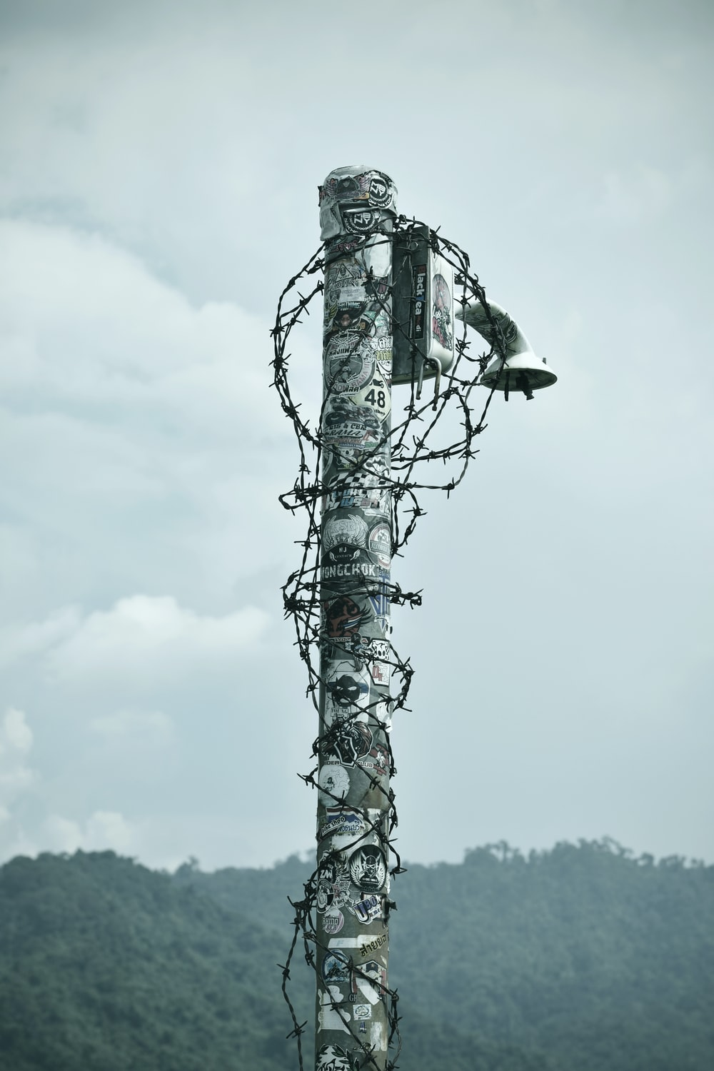 gray post with wire