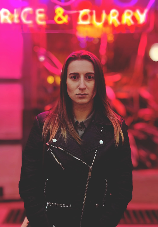 woman in black jacket