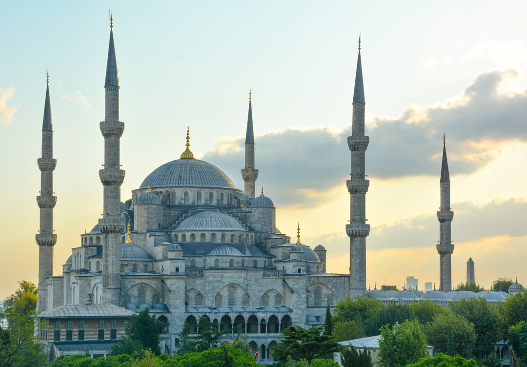 Golden hour view of the magnificent Sultan Ahmet Mosque (Sultan Ahmet Camii) in Istanbul Turkey.