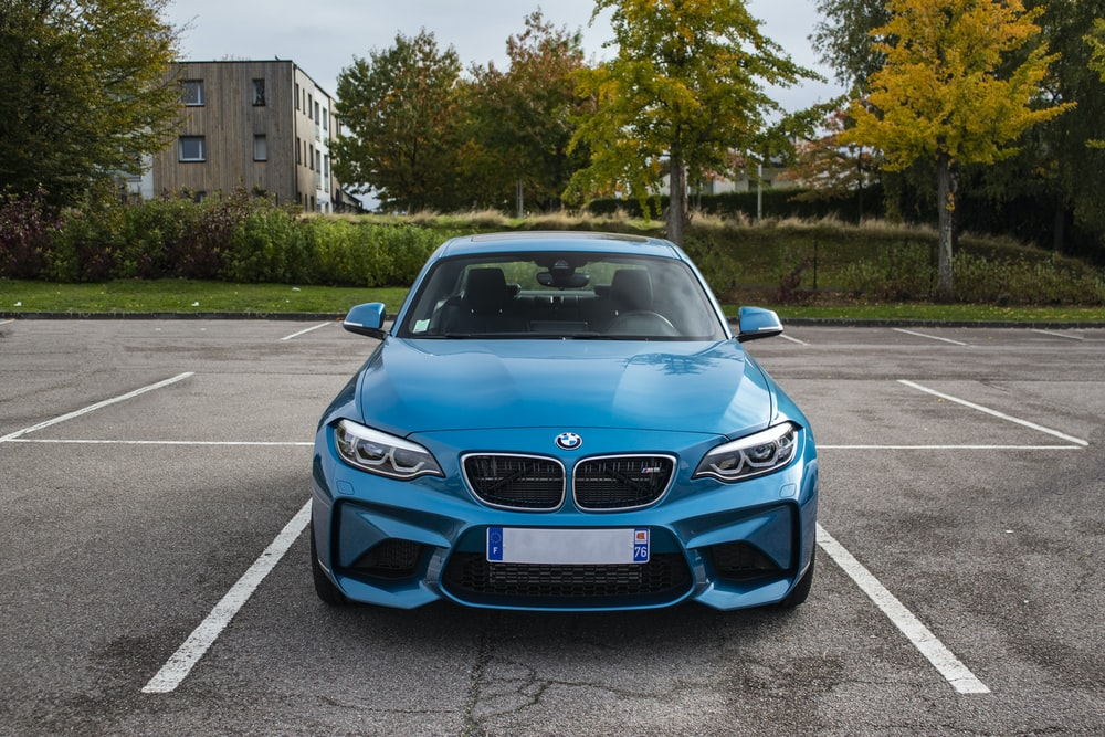 blue BMW vehicle