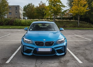 blue BMW vehicle