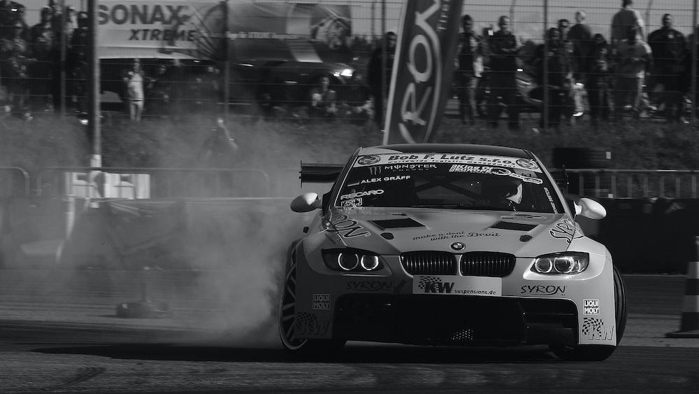 grayscale photo of BMW vehicle