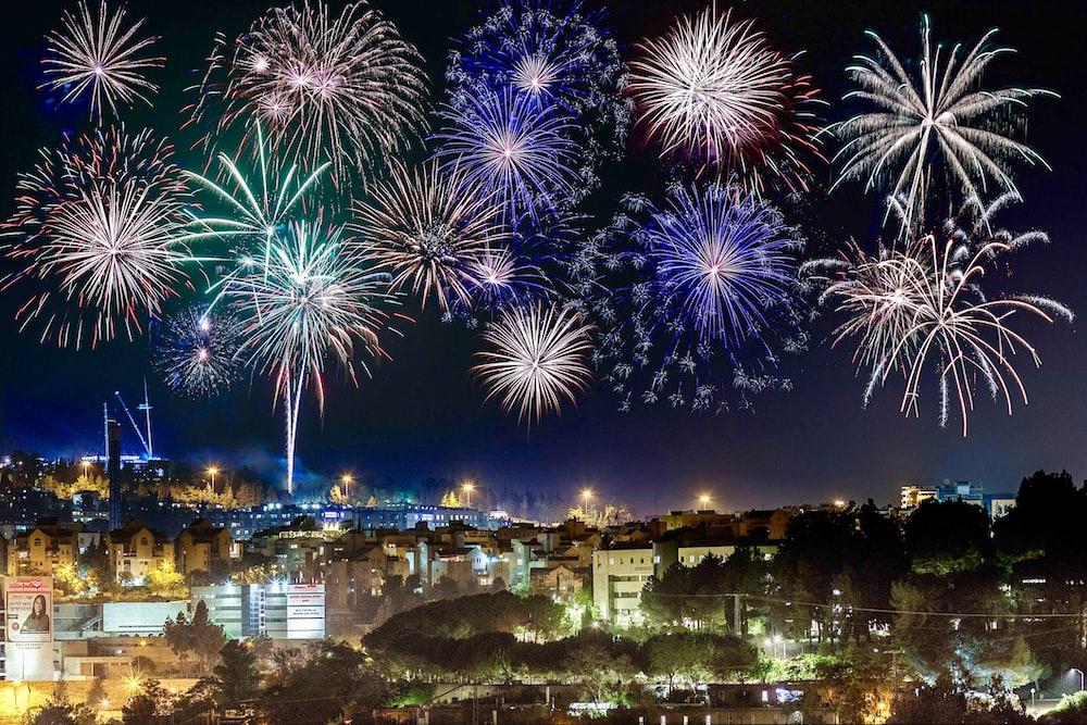 firework display at nighttime