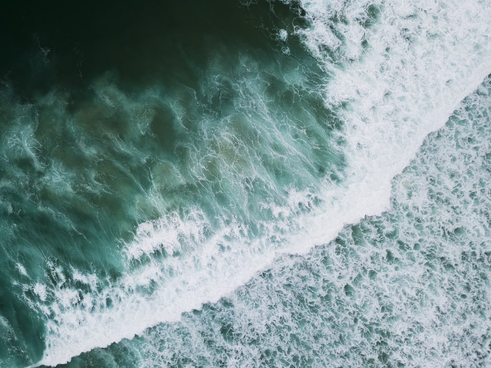 high-angle photo of seawave