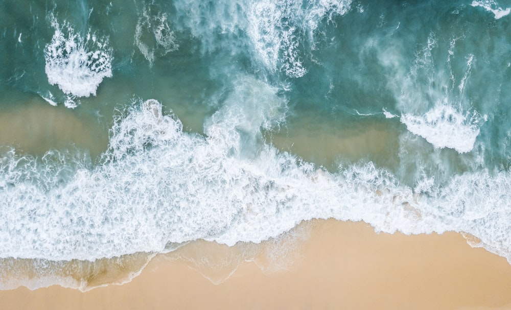 high-angle photo of beach