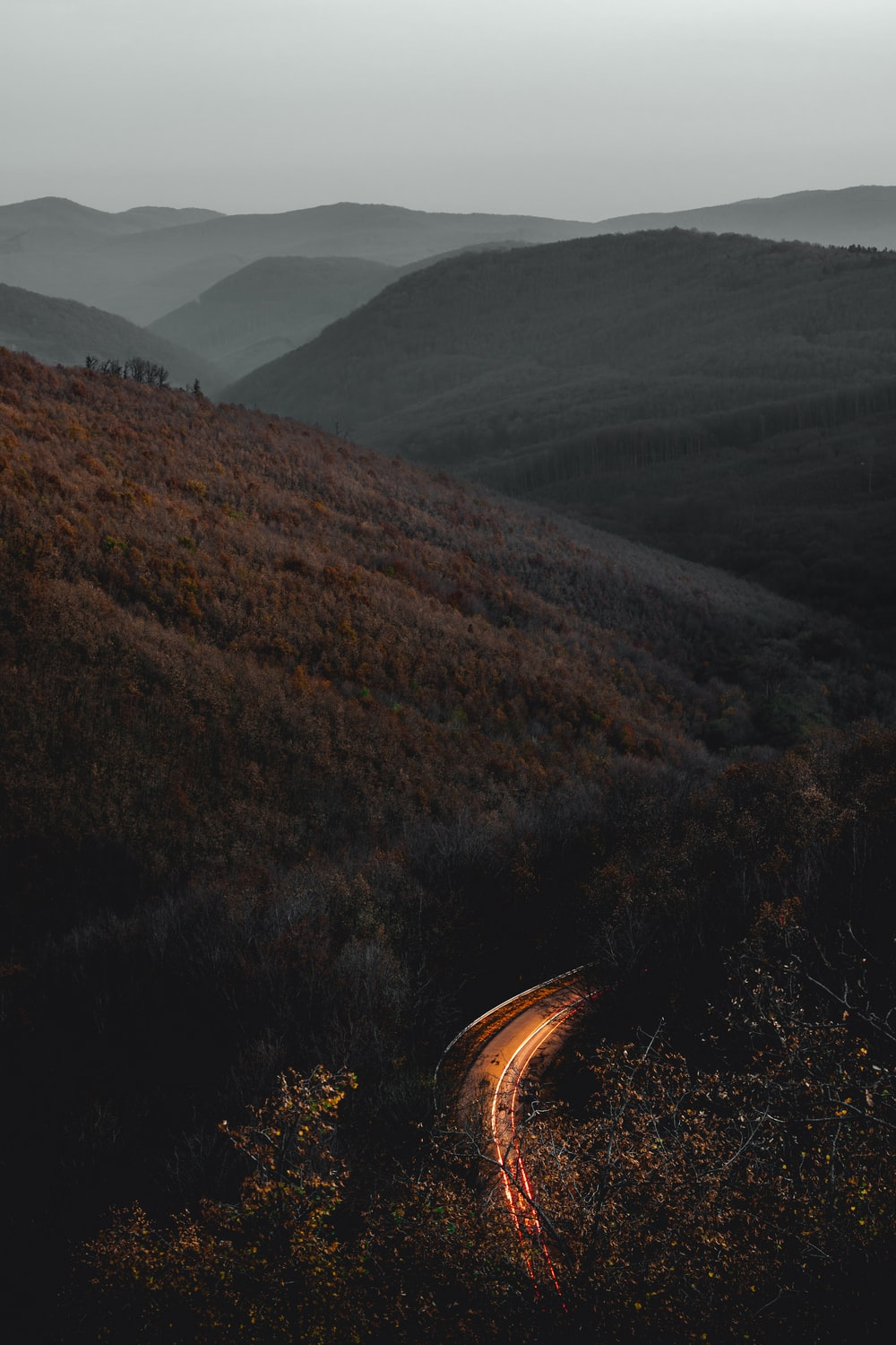 time-lapse photography of road surrounded with trees and mountains