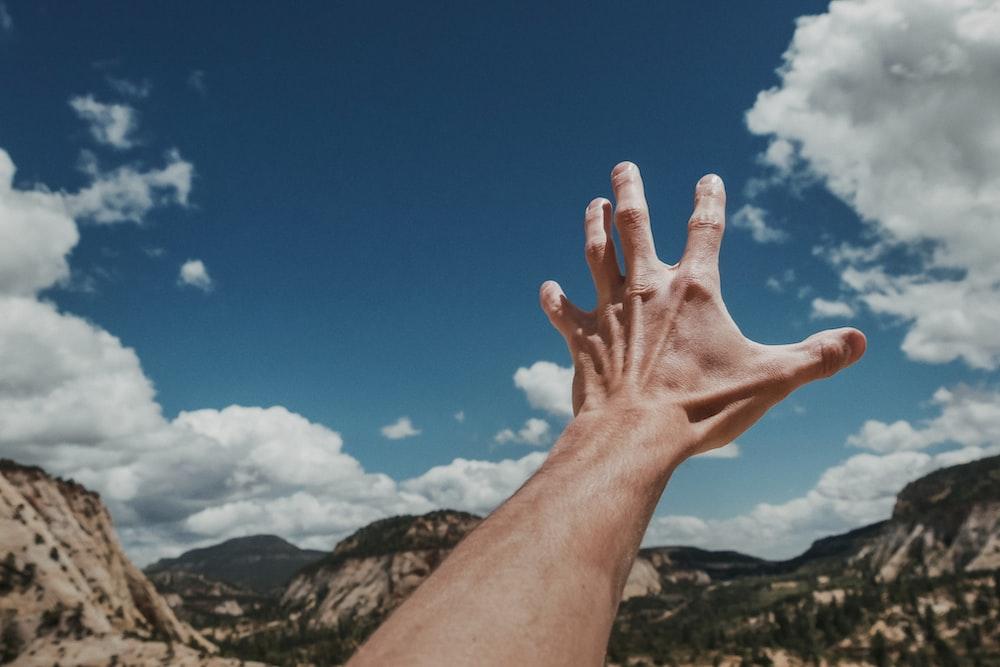 photo of left human hand reaching sky