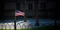 USA flaglet on fence