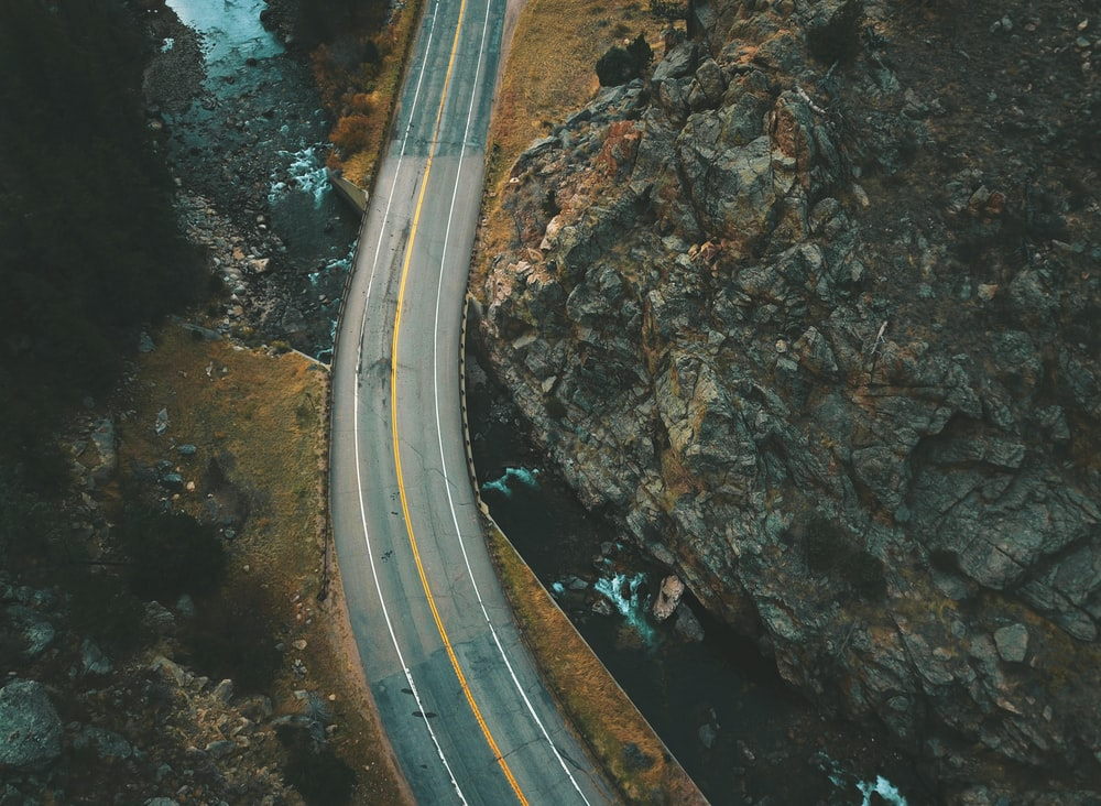 aerial view of road during daytime
