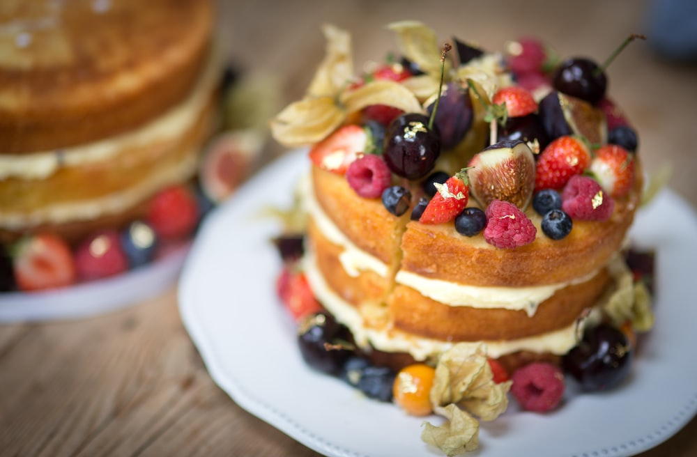 fruit cake on white plate