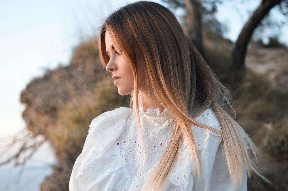 women's white crew-neck top