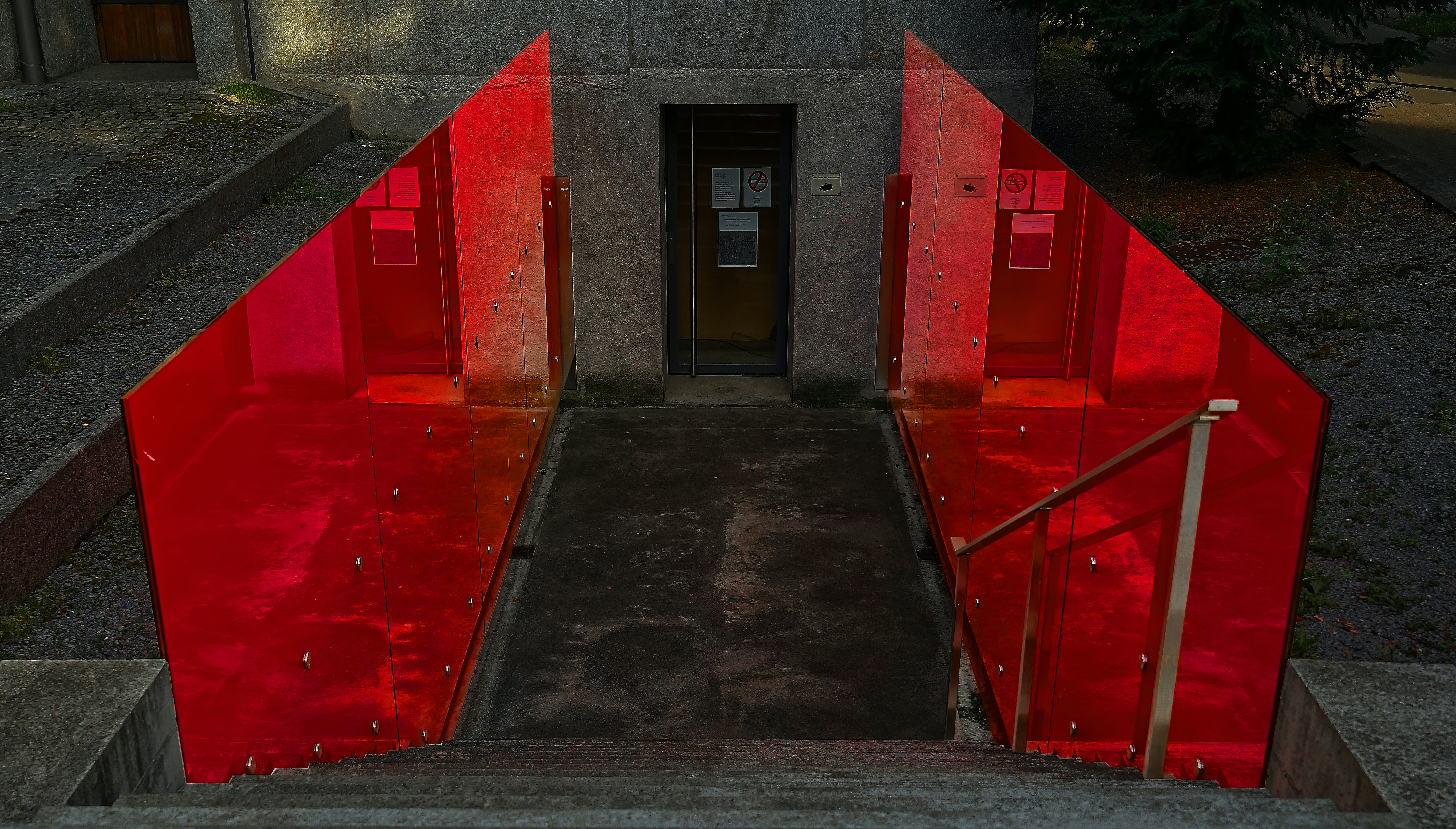 empty red and black stair
