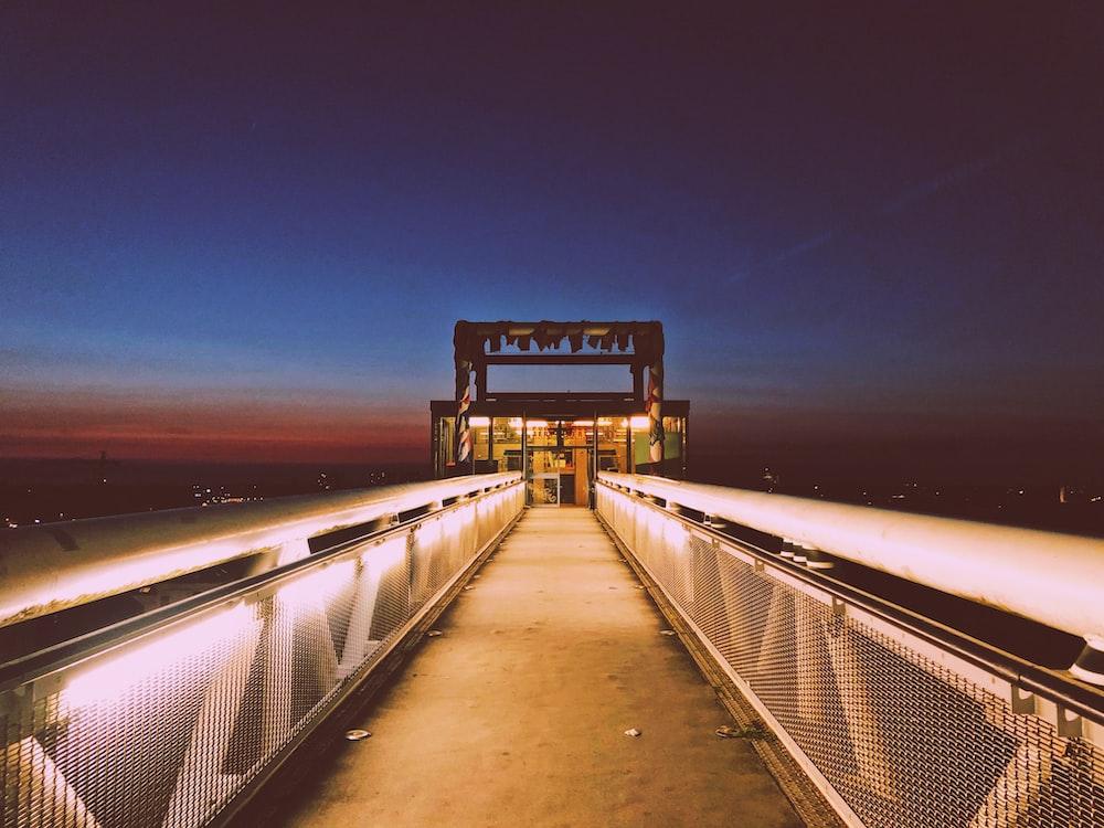 lighted bridge at night