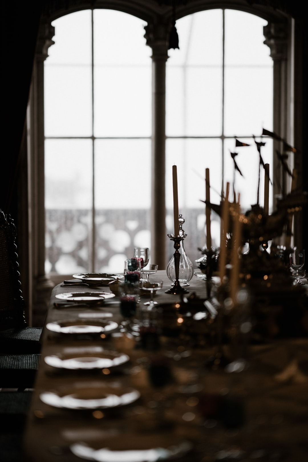 Fine antique table setting, dining room