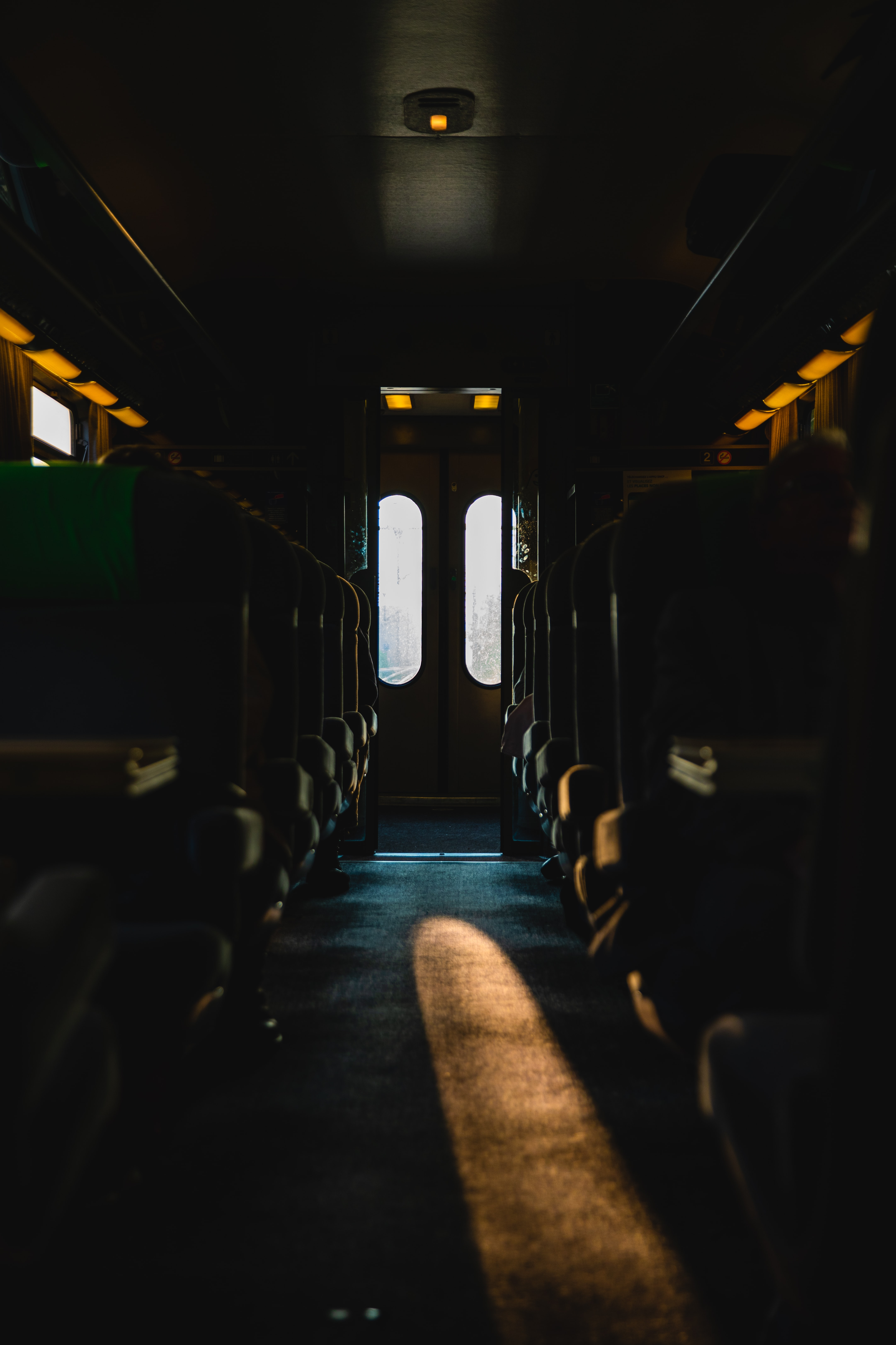 brown and gray bus interior