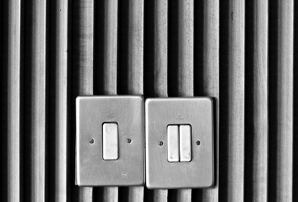 two gray switch panels