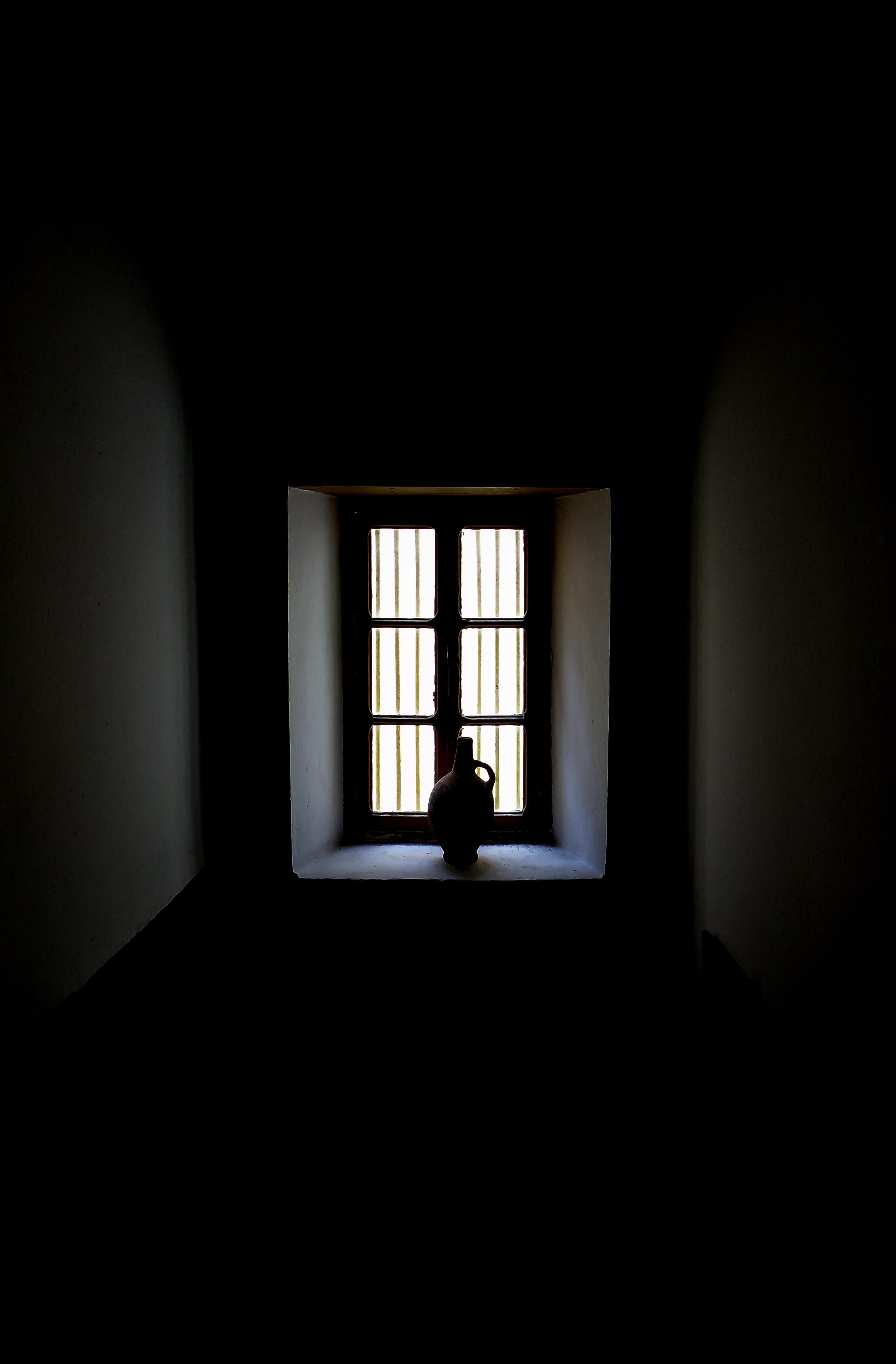 silhouette of bottle near window