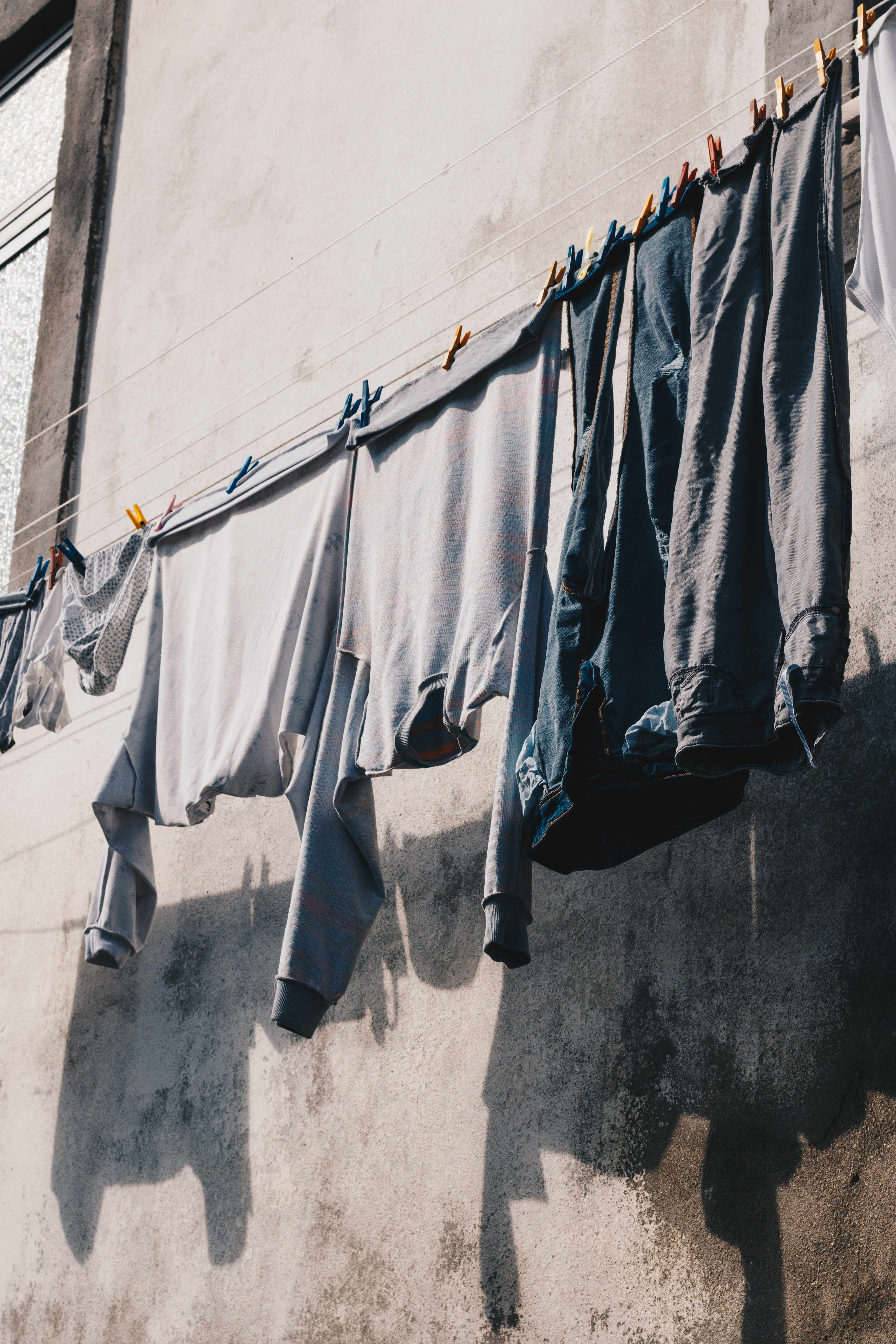 four hanged clothes