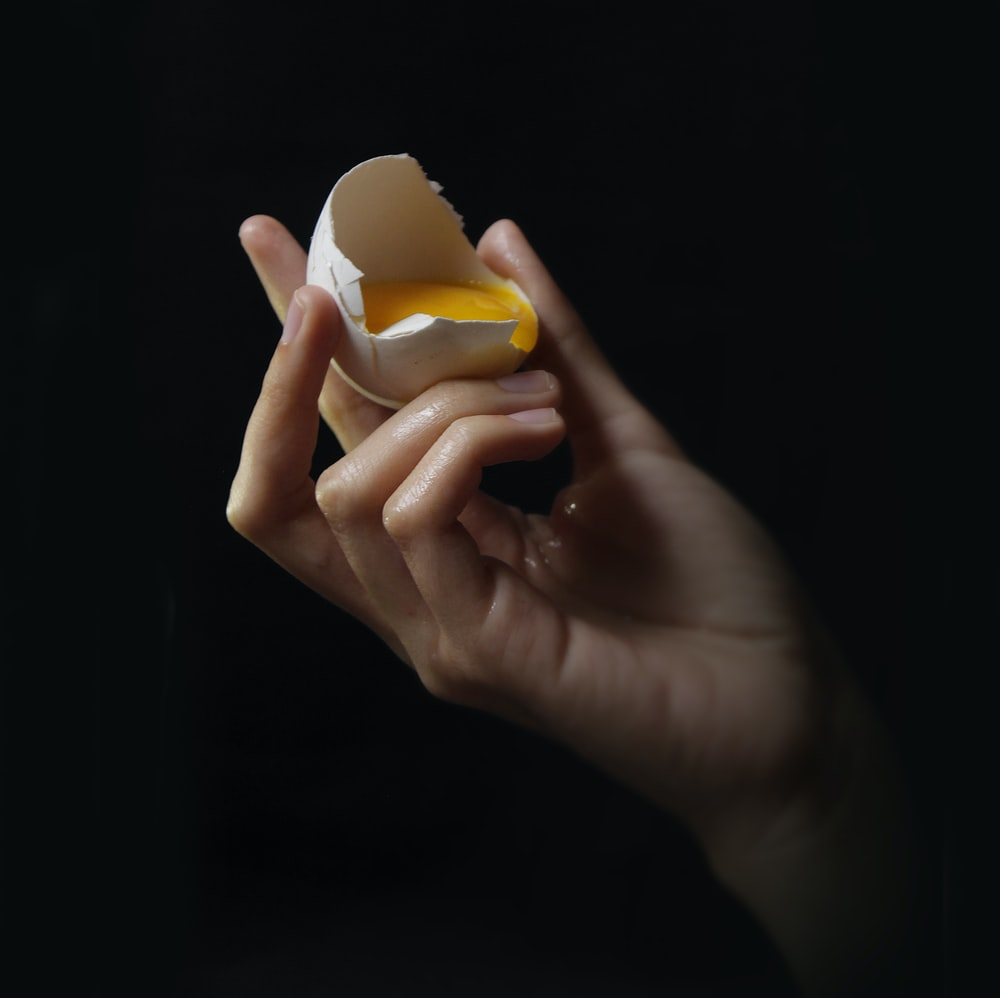 person holding egg