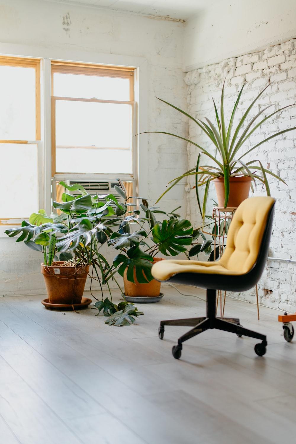 yellow rolling chair near window