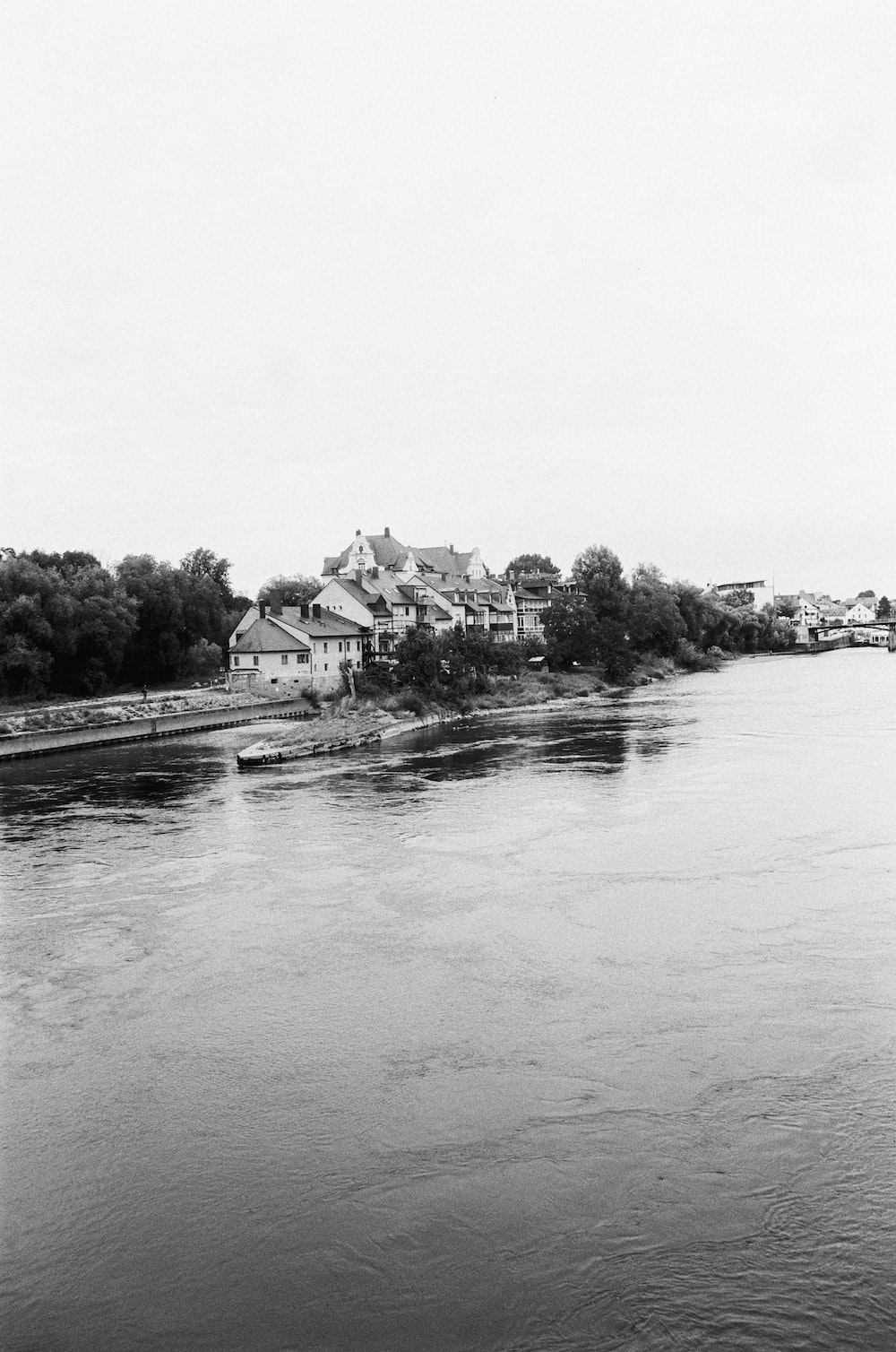 grayscale photo of houses beside river