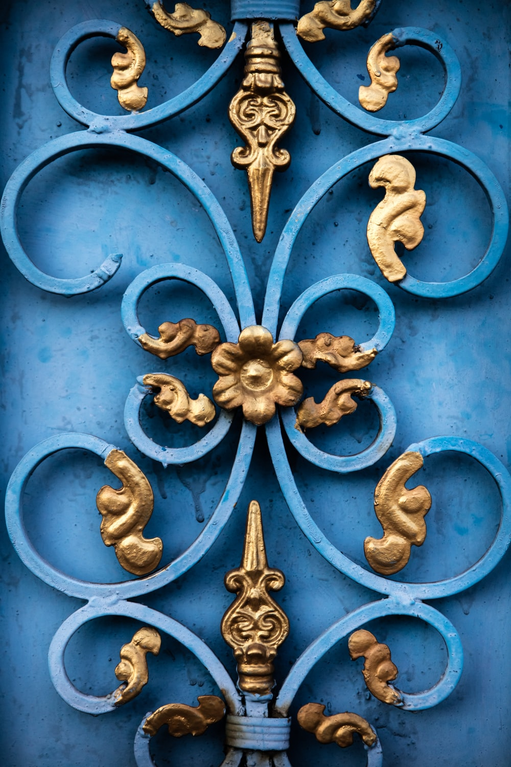 blue and yellow floral cutout decor