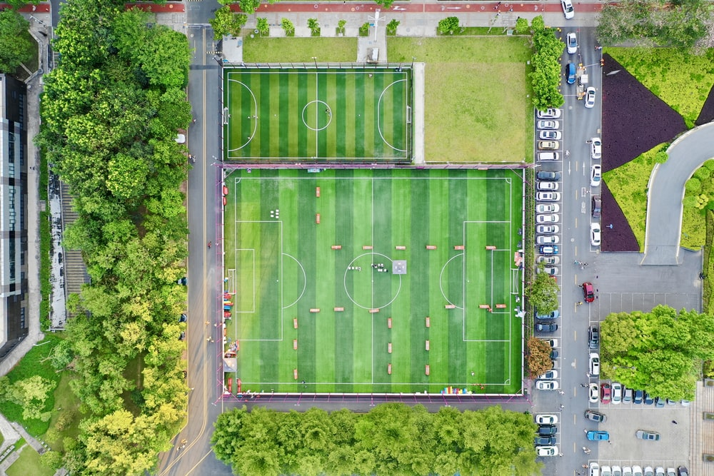 top view photography green football field