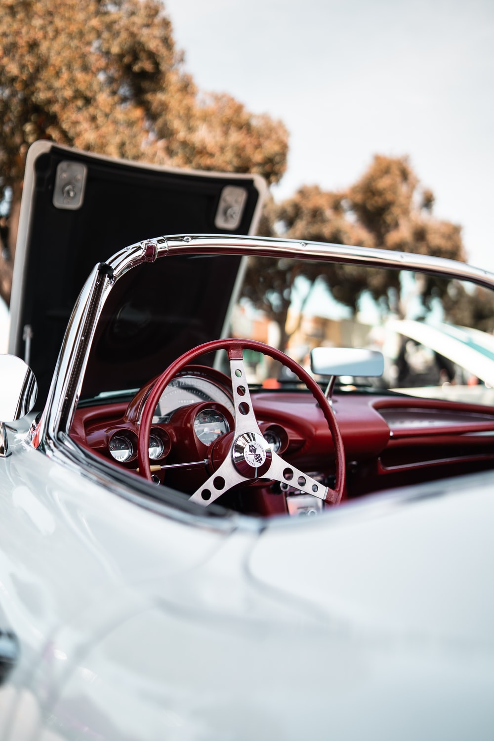 close-up photography of white convertible coupe