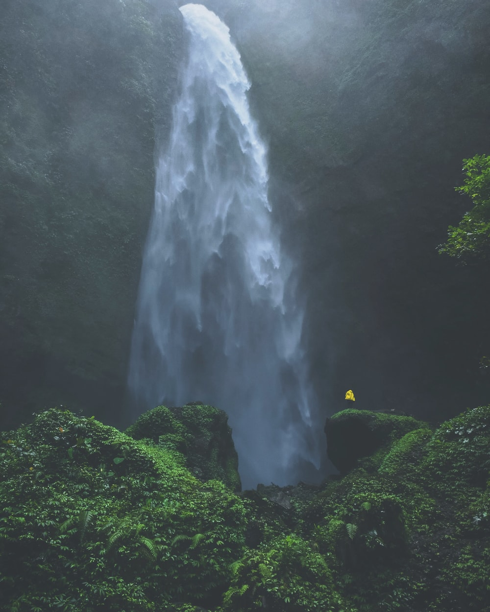 person standing in front of water falls