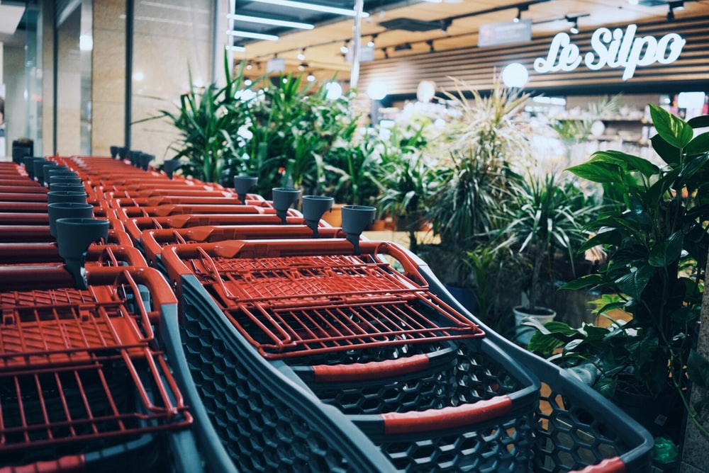 gray and red metal shopping cart in store