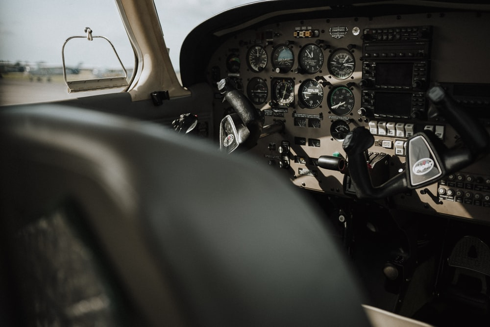 empty aircraft cockpit interior during day