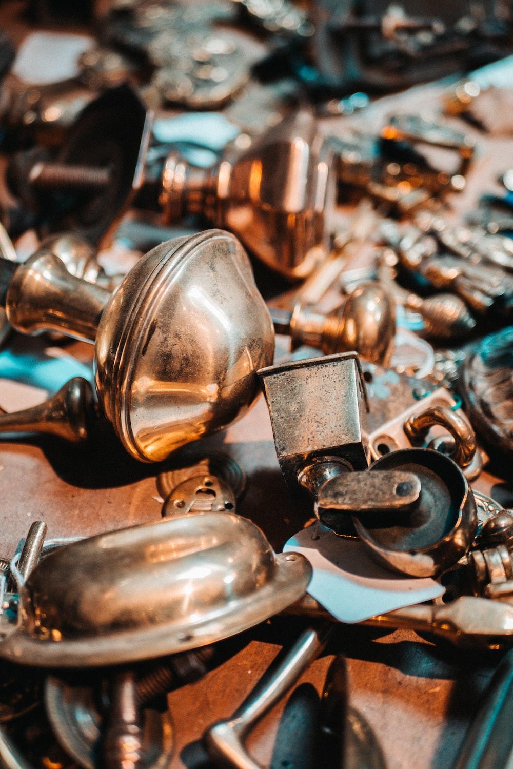 brass door knob and caster wheel lot