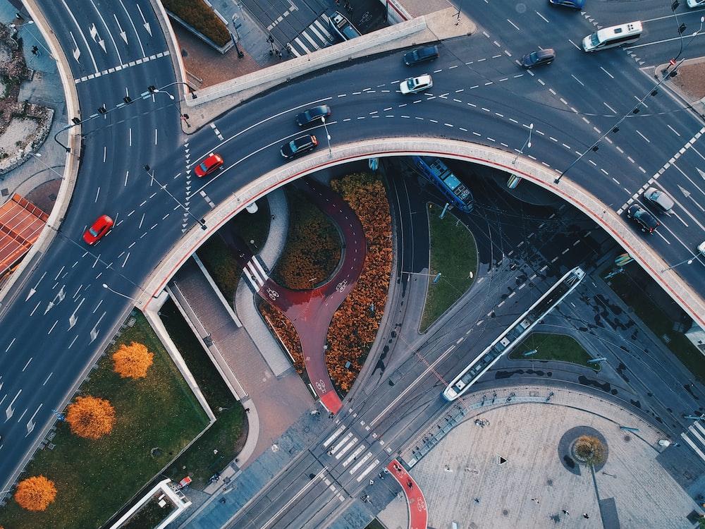 vehicle crossing roads aerial photo