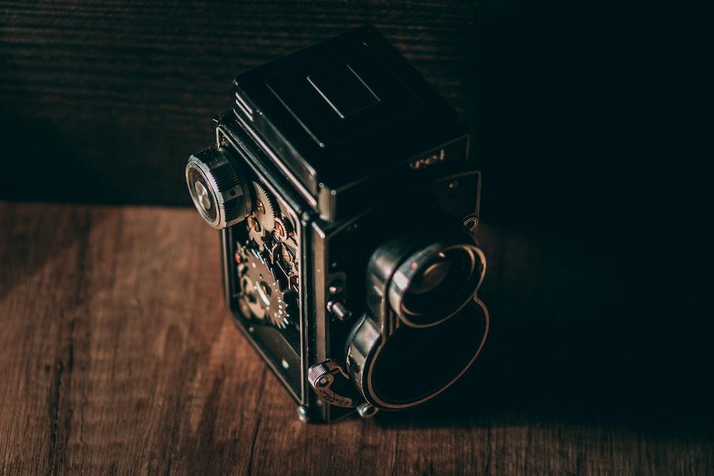 vintage black and grey camera