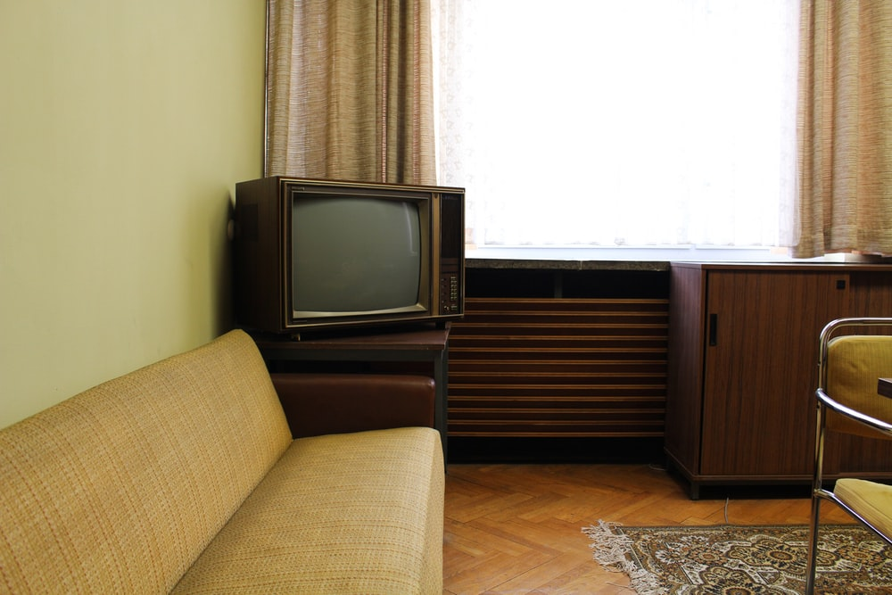 brown CRT TV