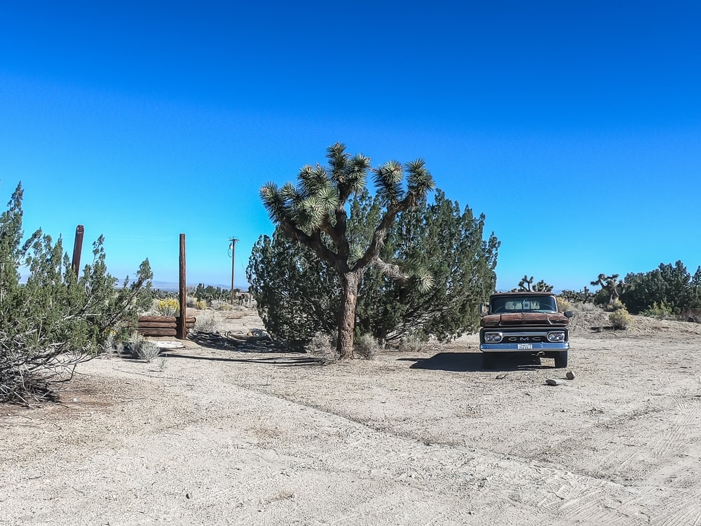 brown vehicle in desert