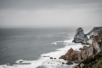 Moody coast and ocean in neutral colours