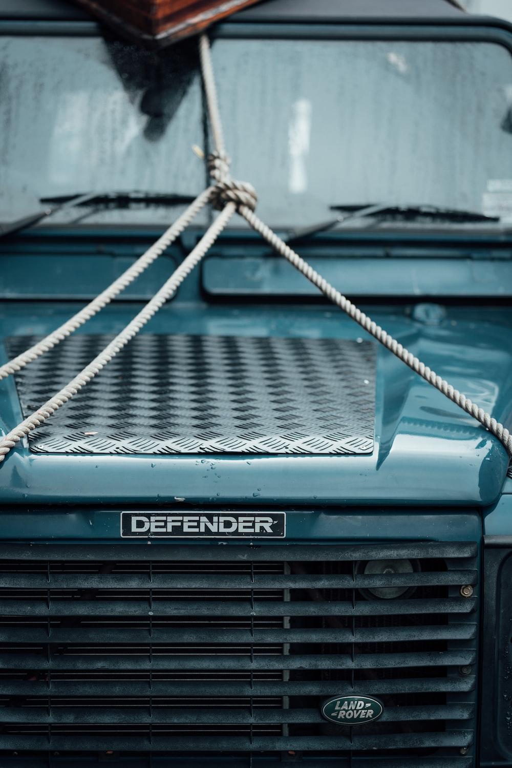black Defender vehicle